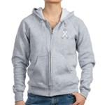 White Awareness Ribbon Women's Zip Hoodie
