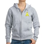 Yellow Awareness Ribbon Women's Zip Hoodie