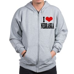 I Love Nebraska Zip Hoodie