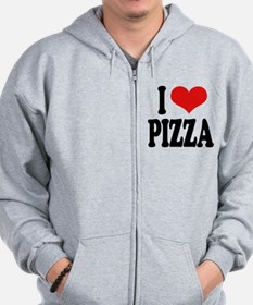 I Love Pizza (word) Zip Hoodie