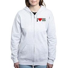 I Love Money (design) Zipped Hoody