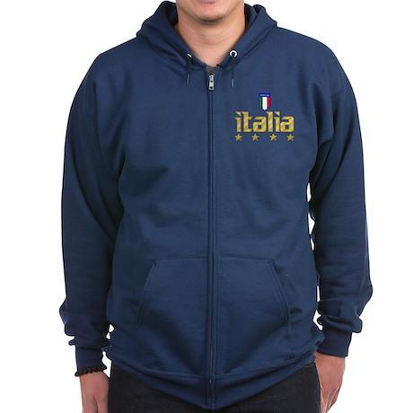 Italia 4 Star Soccer Zip Hoodie (dark)