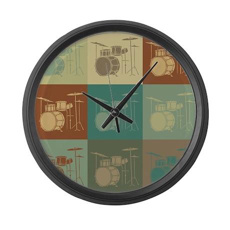 Drums Pop Art Large Wall Clock