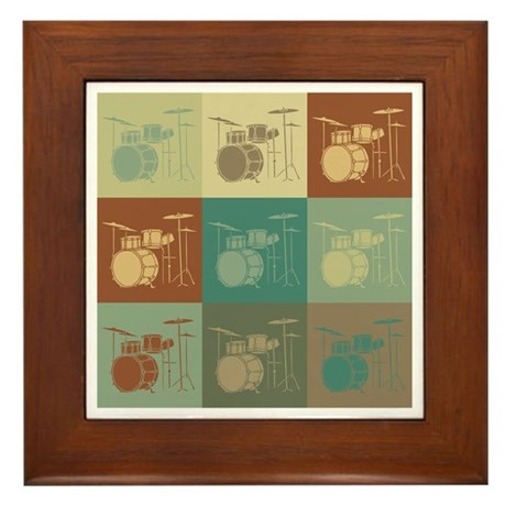 Drums Pop Art Framed Tile
