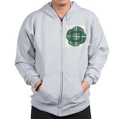 Celtic Four Leaf Clover Zip Hoodie