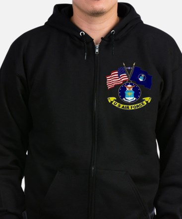USAF-USA Flags Zip Hoodie (dark)