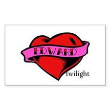 Edward Cullen Twilight Heart Rectangle Decal