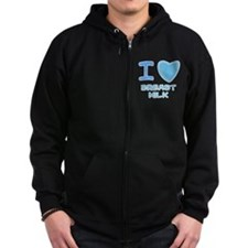 Blue I Heart (Love) Breast Mi Zip Hoodie