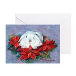 Rabbit in PoinsettiasGreeting Cards (Pk of 10)