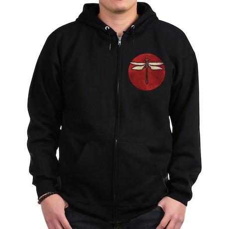 Red Moon Dragonfly Zip Hoodie (dark)