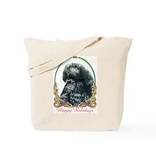 Black Poodle Happy Holiday Tote Bag
