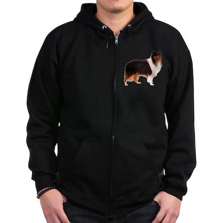 Black Rough Collie Zip Hoodie (dark)