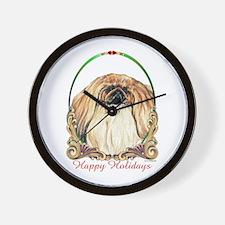 Pekingese Peke Happy Holiday Wall Clock