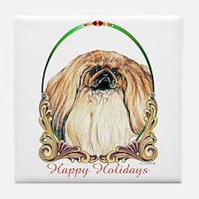Pekingese Peke Happy Holiday Tile Coaster