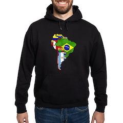South America Flag Map Hoodie (dark)