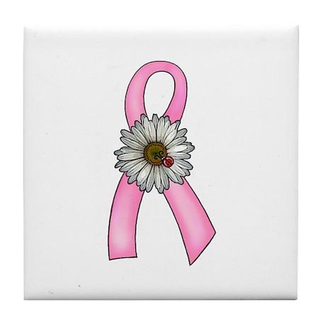 Pink Ribbon, Daisy & Ladybug Tile Coaster