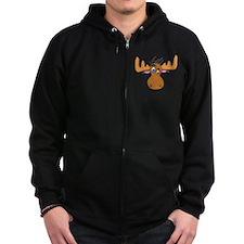 Cartoon Moose Antlers Zip Hoodie