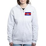 Cambodia Blank Flag Women's Zip Hoodie