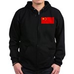China Chinese Blank Flag Zip Hoodie (dark)