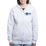 Finland Finish Blank Flag Women's Zip Hoodie