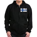 Finland Finish Blank Flag Zip Hoodie (dark)