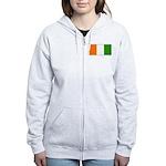 Ivory Coast Blank Flag Women's Zip Hoodie