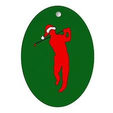 Christmas Golfer Oval Ornament