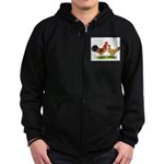 Buff Catalana Chickens2 Zip Hoodie (dark)
