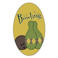 Retro Bowling Set Oval Decal