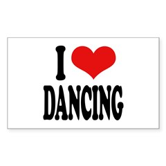 I Love Dancing Rectangle Sticker 10 pk)