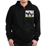 Java Rooster and Hen Zip Hoodie (dark)