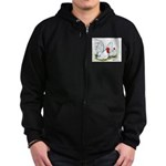 White Japanese Bantams Zip Hoodie (dark)