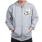 White Japanese Bantams Zip Hoodie