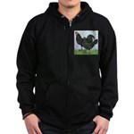 La Fleche Rooster and Hen Zip Hoodie (dark)