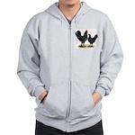 Black Langshan Chickens Zip Hoodie