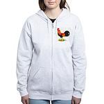 Brown Leghorn Rooster Women's Zip Hoodie