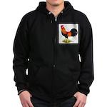 Brown Leghorn Rooster Zip Hoodie (dark)
