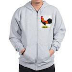 Brown Leghorn Rooster Zip Hoodie