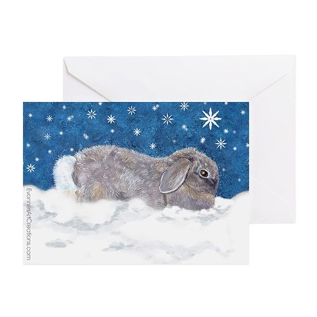 Rabbit in Winter snow Greeting Cards (Pk of 10