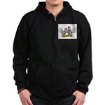 Silver Sebright Bantams Zip Hoodie (dark)