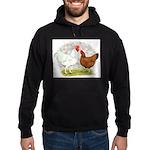White Red Chickens Hoodie (dark)