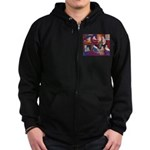 Impressionist Swallows Zip Hoodie (dark)