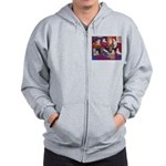 Impressionist Swallows Zip Hoodie