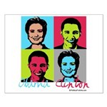Clinton and Obama art Small Poster