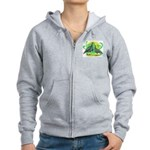 Blue Slate Turkeys2 Women's Zip Hoodie