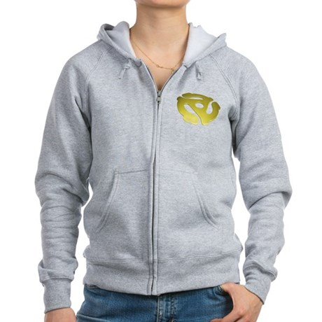 Gold 3D 45 RPM Adapter Women's Zip Hoodie