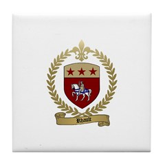 RHAULT Family Crest Tile Coaster