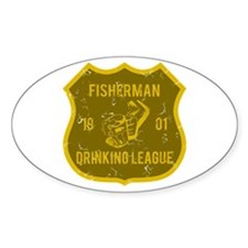 Fisherman Drinking League Oval Decal