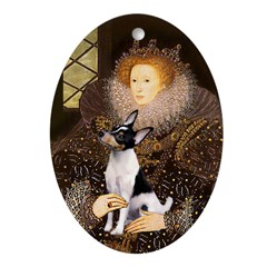 The Queen & Her Toy Fox Terrier Oval Ornament