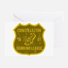 Coin Collector Drinking League Greeting Cards (Pk